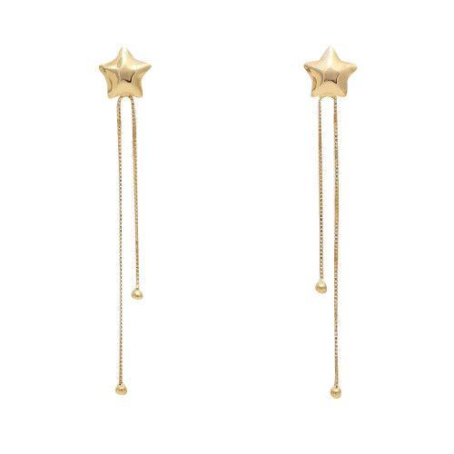 Brinco em Ouro 18k/750 Estrela com Franja