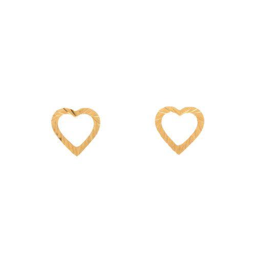 Brinco em Ouro 18k/750 Coração Vazado Diamantado
