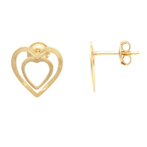 Brinco em Ouro 18k/750 Duplo Coração Diamantado