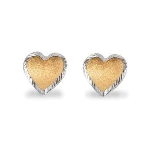 Brinco em Ouro 18k/750 de Coração Bicolor Diamantado e Fosco