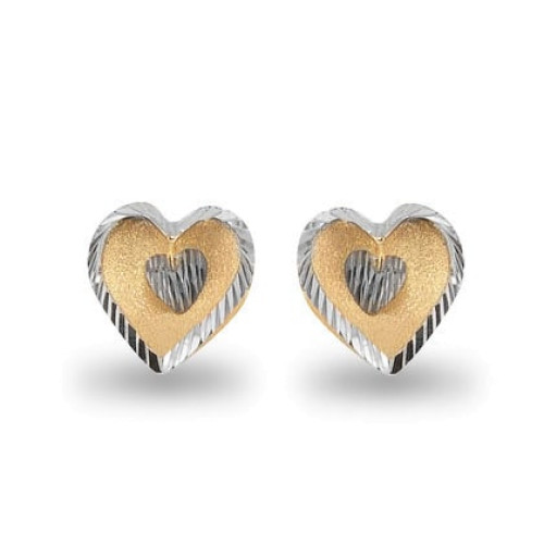 Brinco em Ouro 18k/750 de Coração Bicolor Diamantado e Fosco com Pingente