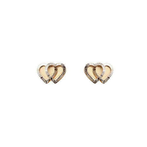 Brinco em Ouro 18k/750 Coração Duplo Diamantado com Ródio