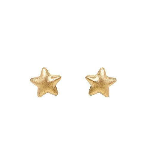 Brinco em Ouro 18k/750 Estrela Dupla Fosca