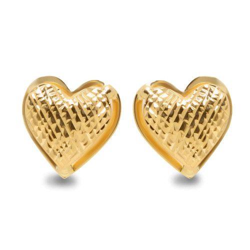 Brinco em Ouro 18k/750 Coração Diamantado