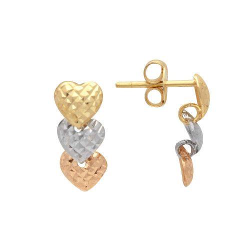 Brinco em Ouro 18k/750 Três Corações Tricolor Diamantado