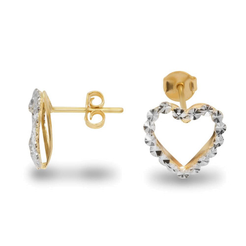 Brinco em Ouro 18k/750 Coração Duplo Diamantado