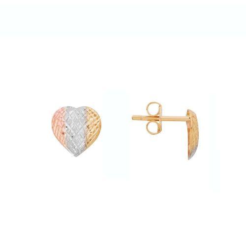Brinco em Ouro 18k/750 Coração Tricolor Diamantado