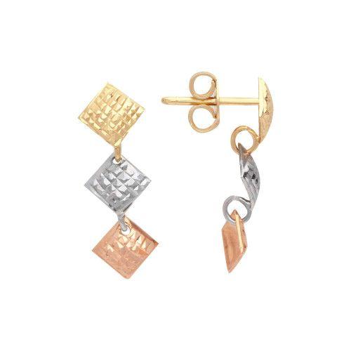 Brinco em Ouro 18k/750 Três Quadrados Tricolor Diamantado