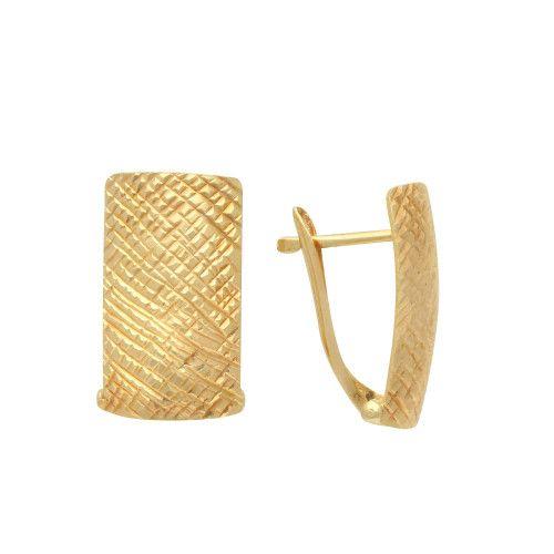 Brinco em Ouro 18k/750 Chapa Reta 8mm Diamantado
