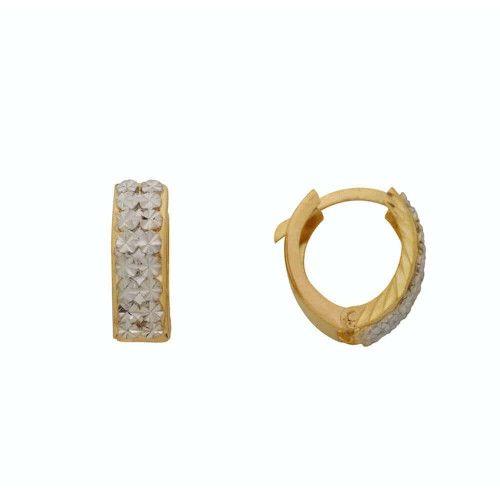 Brinco em Ouro 18k/750 Argola Bicolor Diamantada