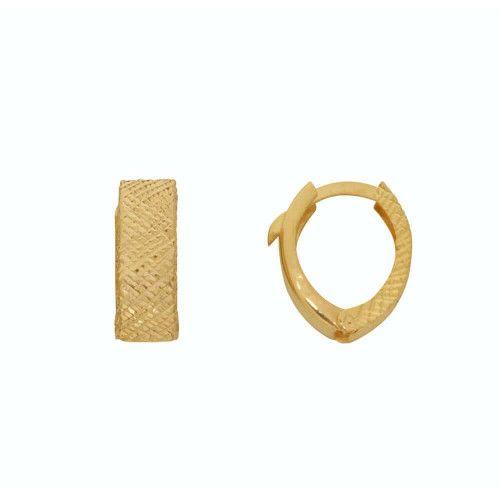 Brinco em Ouro 18k/750 Argola Navete Bordado