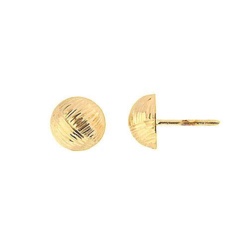 Brinco em Ouro 18k/750 Meia Bola 9mm Diamantada