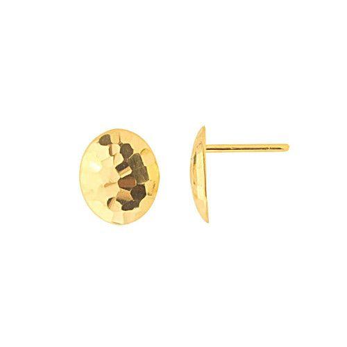 Brinco em Ouro 18k/750 Côncavo Oval Diamantado 11mm