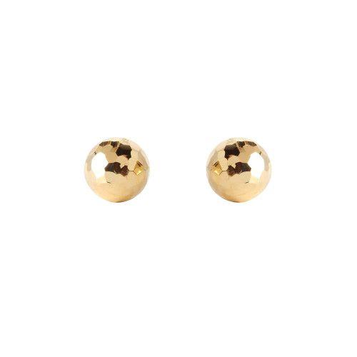 Brinco em Ouro 18k/750 Bola 9mm Diamantada