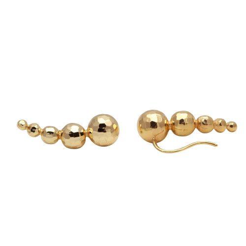 Brinco em Ouro 18k/750 Ear Cuff Cinco Bolas Diamantadas