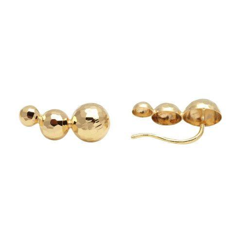 Brinco em Ouro 18k/750 Ear Cuff Três Meia Bola Diamantada