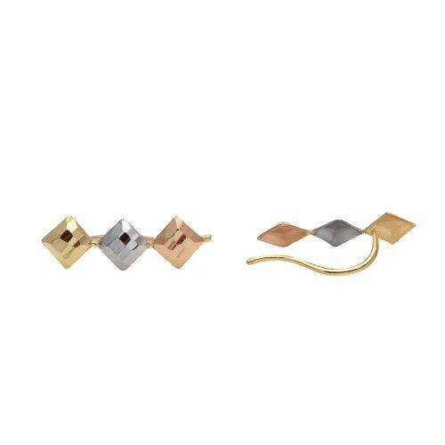 Brinco em Ouro 18k/750 Quadrado Três Cores com Detalhes diamantados