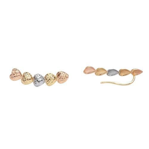Brinco em Ouro 18k/750 Ear Cuff Cinco Corações Tricolor Diamantado