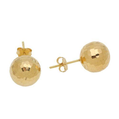 Brinco em Ouro 18k/750 Bola Diamantada 12mm