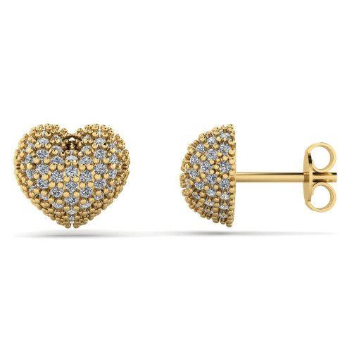 Brinco em Ouro 18k/750 Coração Pavê com Pedras de Zircônia