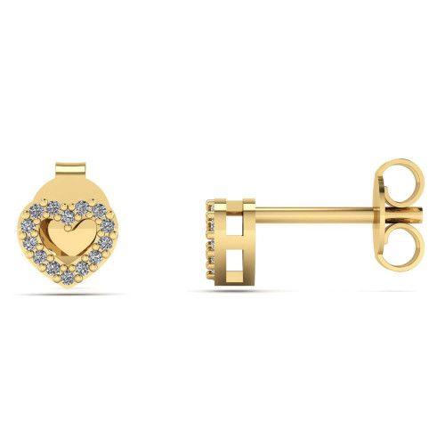 Brinco em Ouro 18k/750 Coração Galeria com Diamante