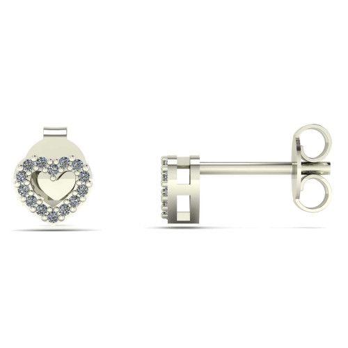 Brinco em Ouro Branco 18k/750 Coração Galeria com Diamante