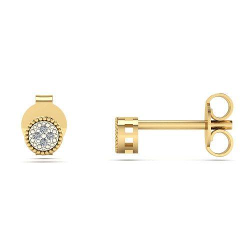 Brinco em Ouro 18k/750 Chuveiro Redondo com Diamante