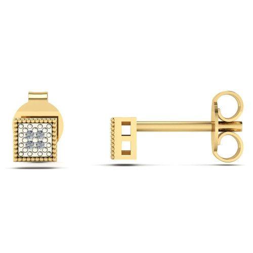 Brinco em Ouro 18k/750 Chuveiro Quadrado com Diamante