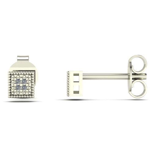 Brinco em Ouro Branco 18k/750 Chuveiro Quadrado com Diamante