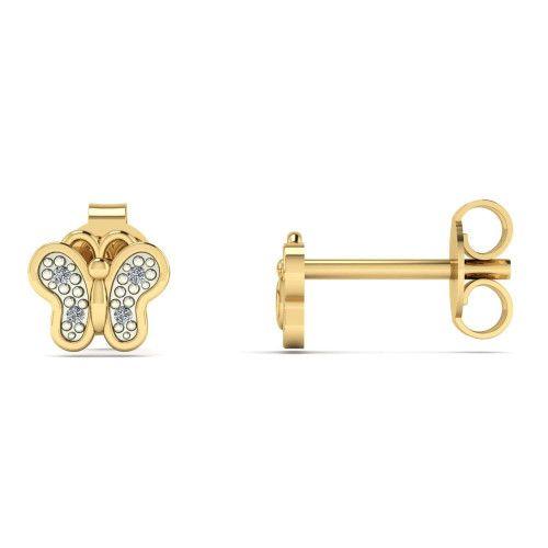 Brinco em Ouro 18k/750 Borboleta Pequena com Diamante