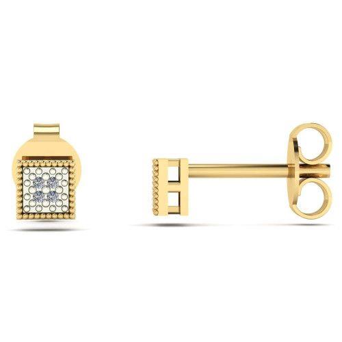 Brinco em Ouro 18k/750 Chuveiro Quadrado com Diamante Pequeno