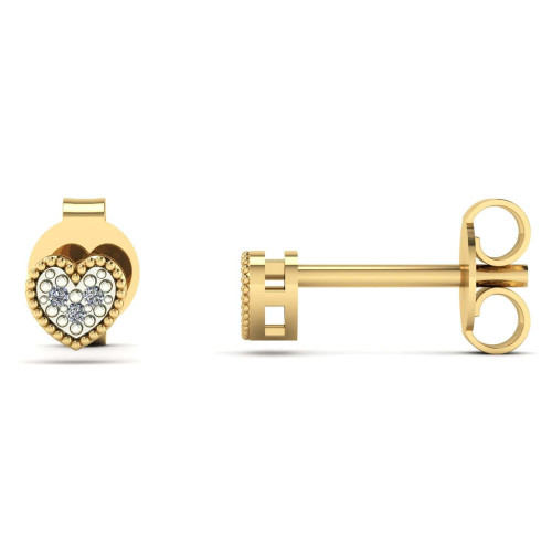 Brinco em Ouro 18k/750 Chuveiro Coração com Diamante
