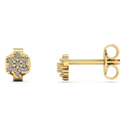 Brinco em Ouro 18k/750 Flor Pavê com Diamante