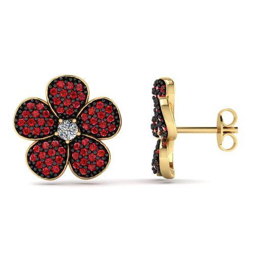 Brinco em Ouro 18k/750 Flor com Zircônias Vermelhas e Ródio Negro