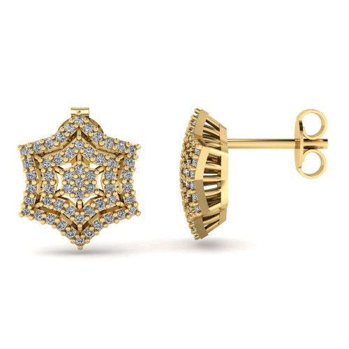 Brinco em Ouro 18k/750 Sextavo Estrela com Pedras de Zircônia
