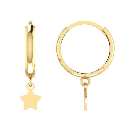 Brinco em Ouro 18k/750 Argola com Estrela Lisa