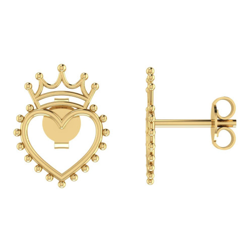 Brinco em Ouro 18k/750 Coração com Coroa Liso