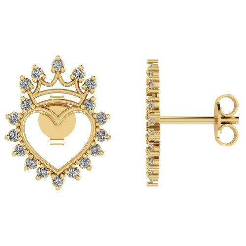 Brinco em Ouro 18k/750 Coração com Coroa Cravejado com Zircônia