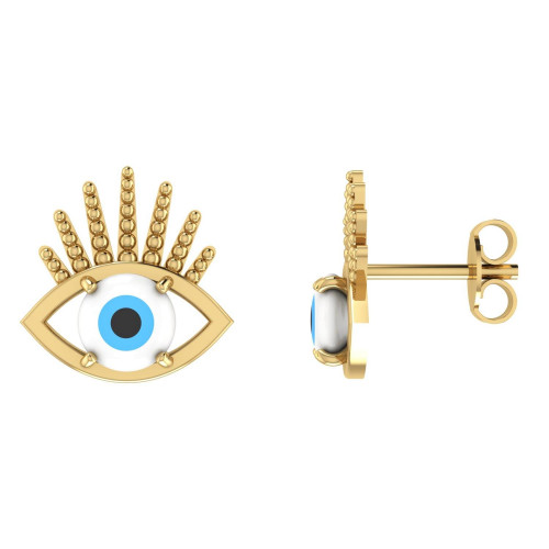 Brinco em Ouro 18k/750 Olho Grego com Pedra