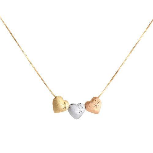 Gargantilha em Ouro 18k/750 com Corrente Veneziana Três Corações