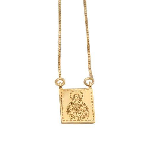 Escapulário em Ouro 18k/750 Deus é Fiel 8.3mm x 10mm