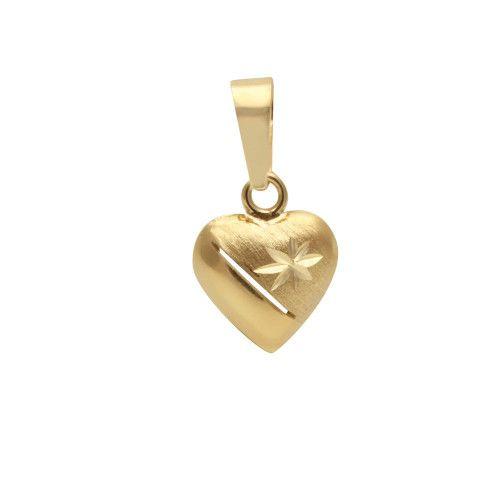 Pingente em Ouro 18k/750 Coração Sobre Posto Diamantado