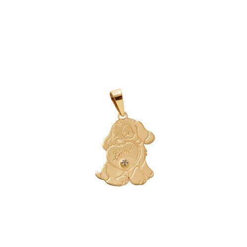 Pingente em Ouro 18k/750 Cachorrinho Love com Diamante