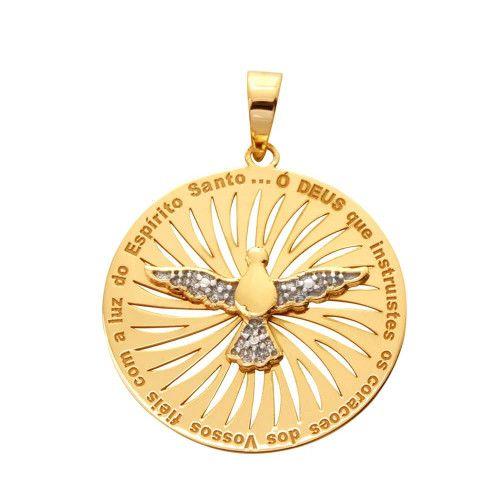 Pingente em Ouro 18k/750 Espirito Santo com Diamante