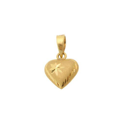 Pingente em Ouro 18k/750 Coração Diamantado e Fosco Pequeno