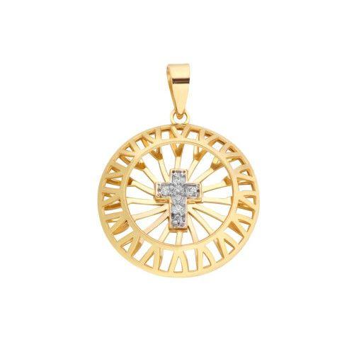 Pingente em Ouro 18k/750 Mandala Bordada com Cruz de Diamantes