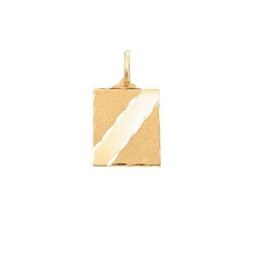 Pingente em Ouro 18k/750 Placa Reta Faixa Lisa Diamantada 14mm x 10mm