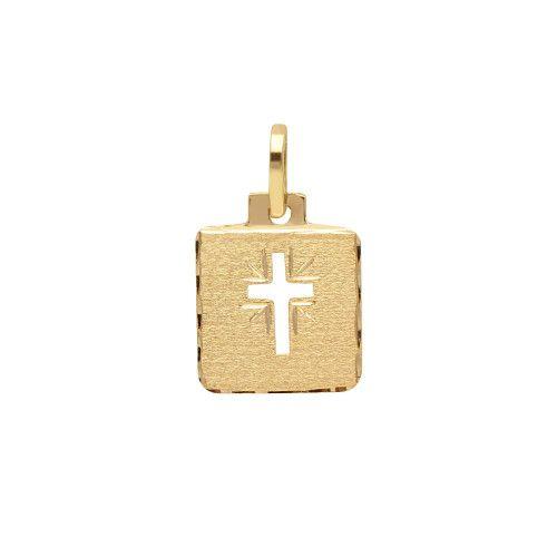 Pingente em Ouro 18k/750 Placa de Cruz Vazada Diamantada e Fosca Pequeno