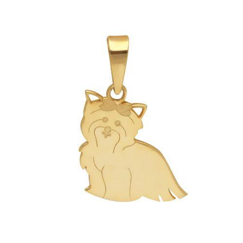 Pingente em Ouro 18k/750 Pet Yorkshire Lacinho
