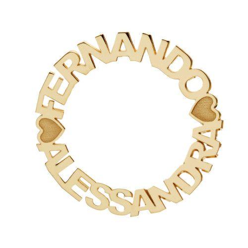 Pingente em Ouro 18k/750 Mandala com Dois Nomes Personalizados